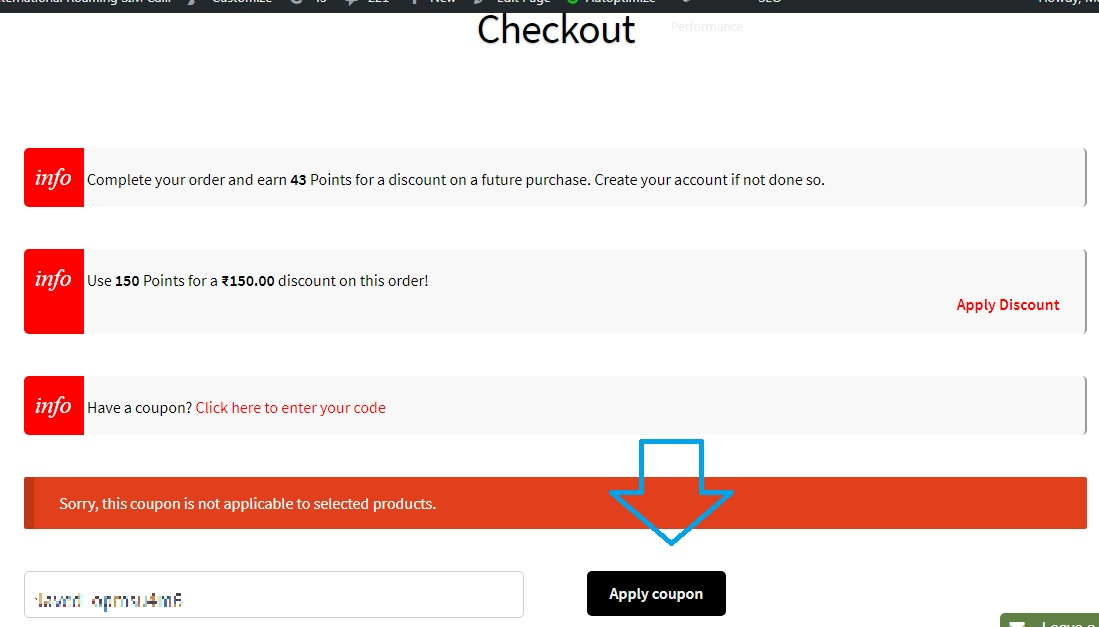 Applying a coupon code on the checkout page