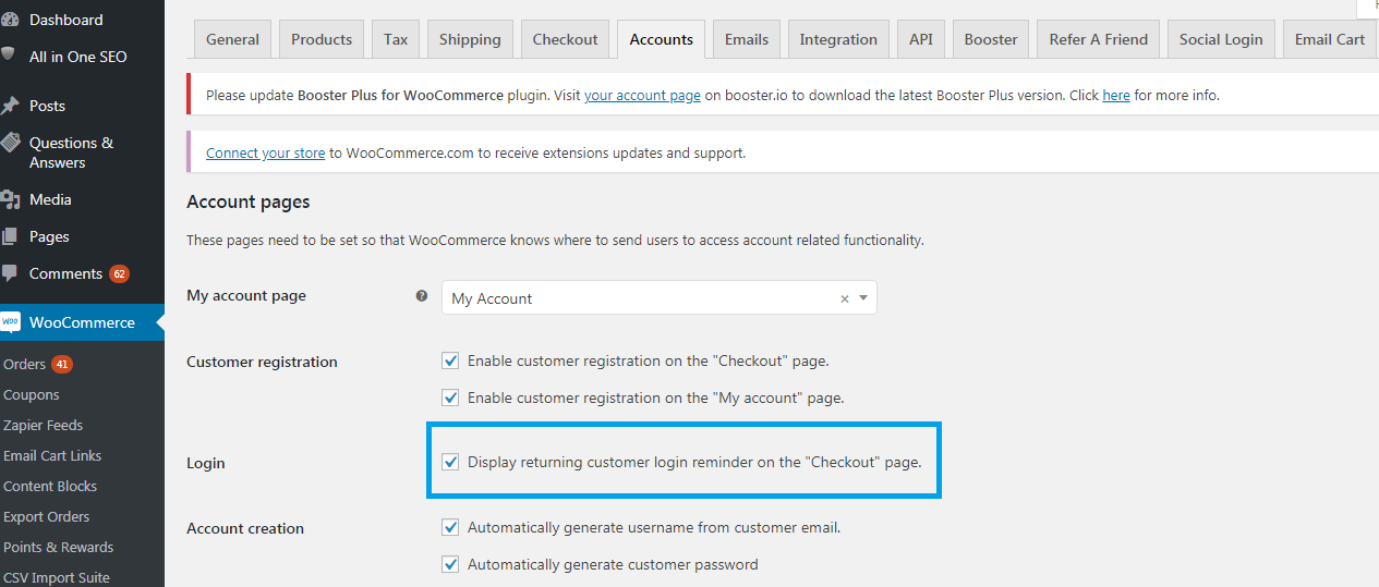 Customer login reminder