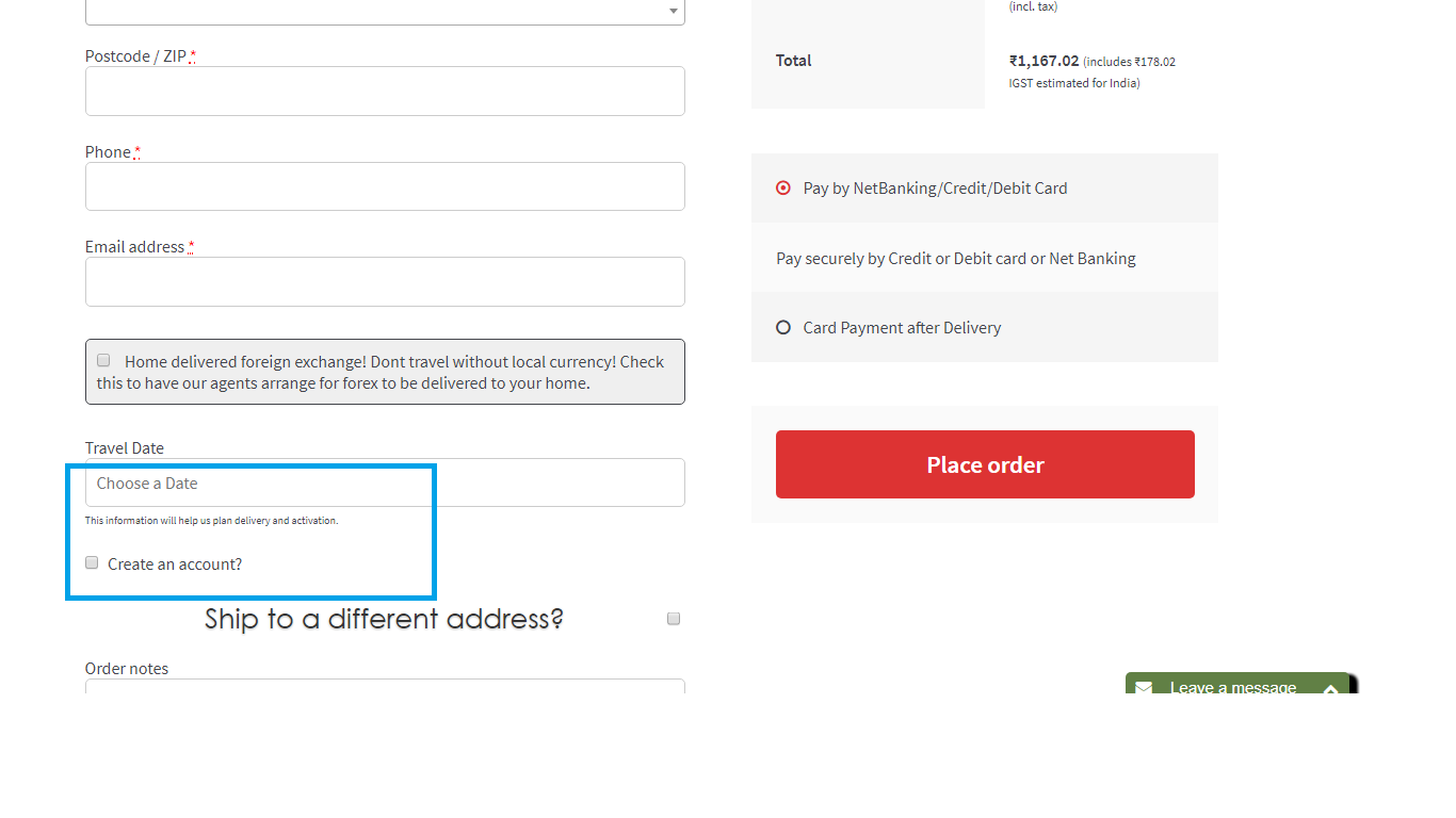 Customer registration on the checkout page
