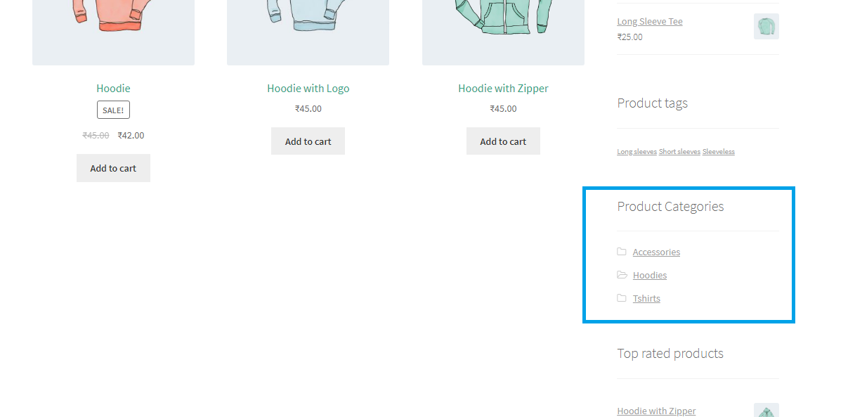 Displaying product category in the sidebar