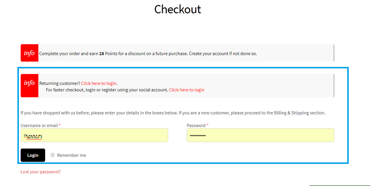 Displaying customer login reminder