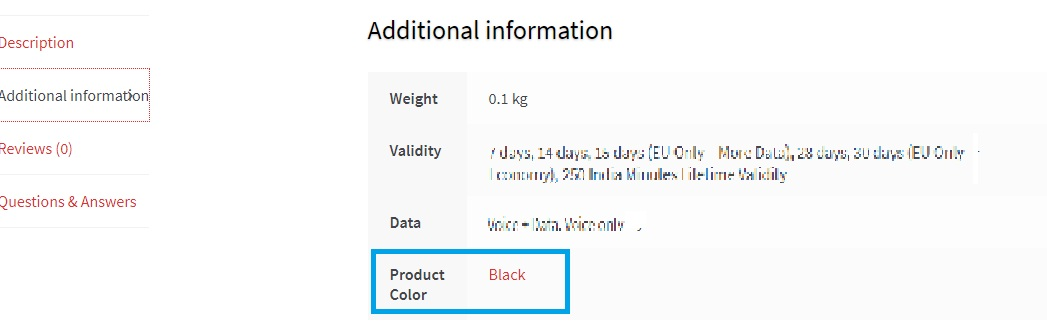 Displaying a product attribute on the product page