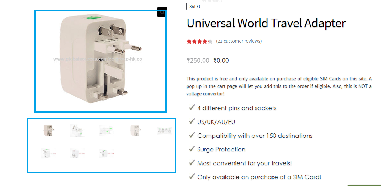 Displaying product images on the shop page