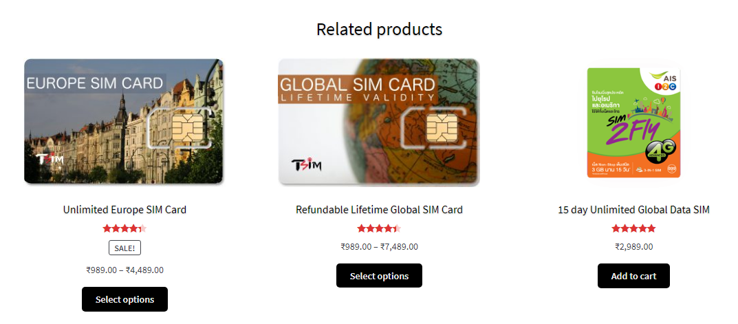 Displaying related products on the shop page