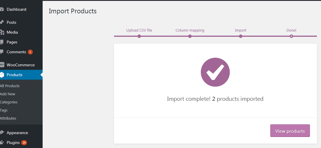 Import products notification
