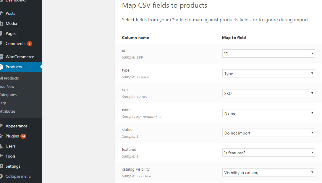 Mapping CSV fields to products