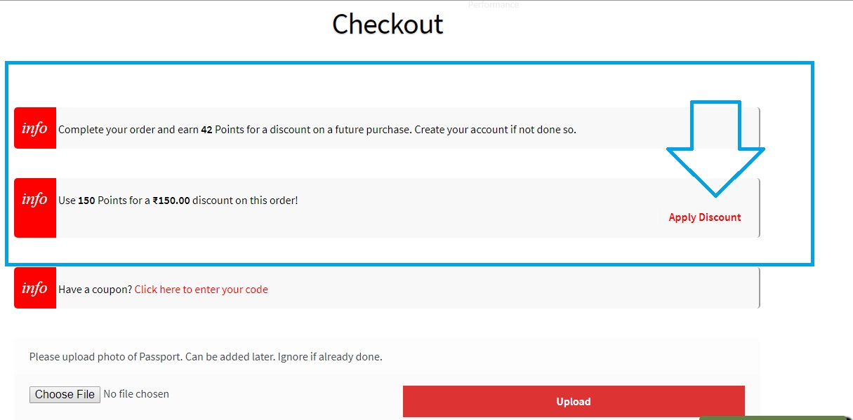 Points on the checkout page