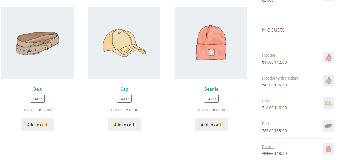 Displaying on-sale products in the sidebar